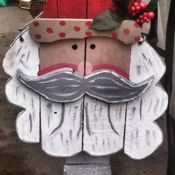Christmas Door Hanger-Santa Clause Decoration-Reclaimed wood