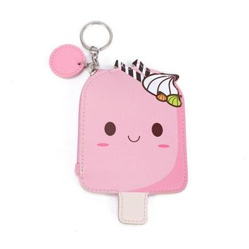 Cool Light Pink Ice Cream Popsicle Zippered Coin Purse with Key Ring