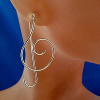 STERLING SILVER music earrings TEBLE clef by CecileStewartJewelry