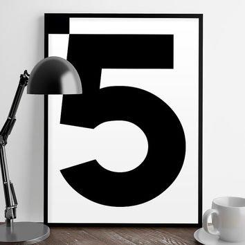 Numbers print, 5 Poster, Number poster, Scandinavian decor, Modern art, Nordic decor, Scandinaviand home,Typography art, Wall decor, minimal