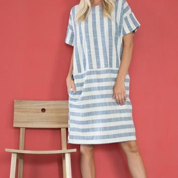 """Flynn"" Vintage Striped Midi Dress"