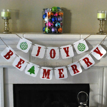 Christmas Banner Decor Be Merry Banner Joy Banner Whimsical Banner Holiday Decor Photo Prop Cute Christmas For The Home Merry Christmas