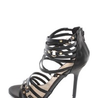 Black Rocking Strappy Heels | $10.00 | Cheap Trendy Heels and Pumps Chic Discount Fashion for Women