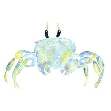 Watercolor Painting Beach Painting Beach Art Tropical Decor Watercolor Animals Ocean Watercolor Crab Crab Painting Blue 7x5 Print