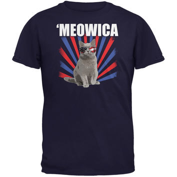 Cat 4th of July Meowica Navy Youth T-Shirt