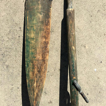Pair Vintage Oars, Wooden Oars, Rustic Oars, Green Boat Oars, Coastal Wall Decor, Oar Art, Oar Locks, Decorative Boat Oars, Nautical Decor