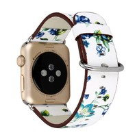 National Folk Style Floral Colorful Leather Watch Band Strap for Apple Watch iwatch 38/42mm