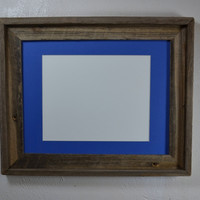 "11"" x ""14 repurposed wood frame with blue 8x10 mat. Handcrafted in the USA."