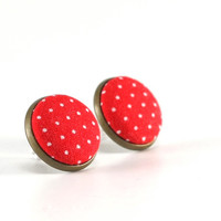 Red Polka Dots Stud Earrings - Earring Studs - Fabric Covered Buttons Earrings Posts Jewelry