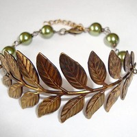 Branch and Leaves Antique Bronze Brass Bracelet by RibbonGlory