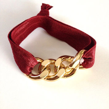 Gold Chain Burgundy Red Wine Arm Candy Hair Tie Curb Pony Jewelry Stretch Elastic Fold Over Embellished Gift Girls