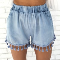 Hybrid Denim Blue Tassel Shorts