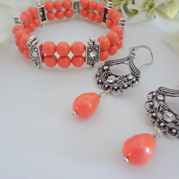 Coral Bracelet Set,Coral Jewlery,Coral Cuff Bracelet Set,Coral Bridesmaid Set,Coral Wedding Jewelry,Coral Bridesmaid Jewelry,Coral Bridal