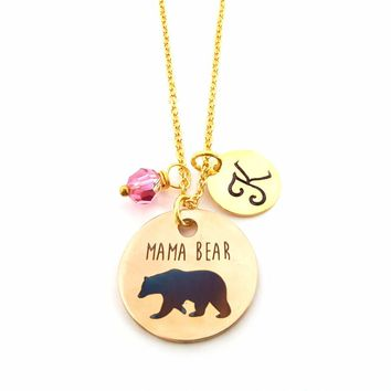 Mama Bear - Personalized Initial Hand Stamped Gold Necklace