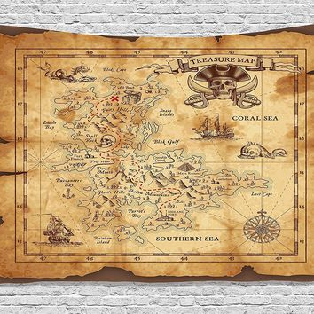 Rustic Pirate's Gold Map Fabric Wall Tapestry
