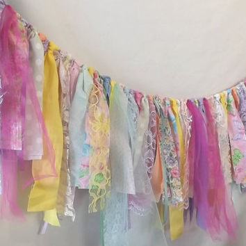 Spring Wedding Garland, Fabric Party Banner, Birthday Party Photo Prop, Table Decoration Backdrop or Wall Hanging, Event Tent Decor