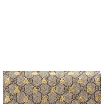 Gucci Linea Bee GG Supreme Continental Wallet | Nordstrom