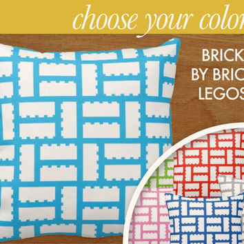 """Lego Brick Pattern Throw Pillow Home Decor, 16x16"""" or 20x20"""" pillow or pillow cover - original design by laurenmary"""