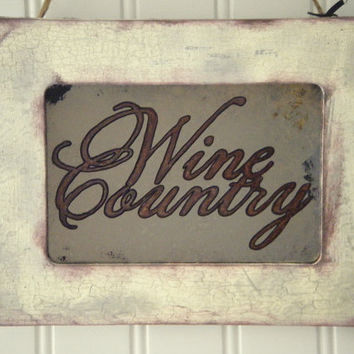 Wine Country Antiqued Mirror in Rustic Wood Frame