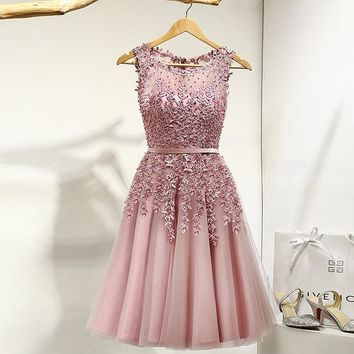 Illusion Flowers Beading A-line Knee Length Dinner Bridesmaids Dresses