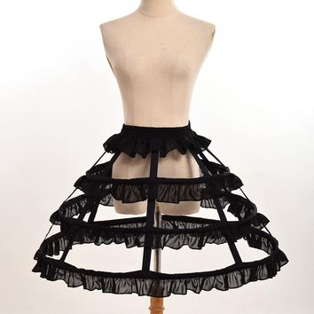 Women Cosplay Vintage Medieval Victorian Gothic Lolita Fishbone Petticoat Underskirt Crinoline for Ball Gown