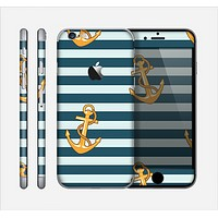 The Navy Striped with Gold Anchors Skin for the Apple iPhone 6