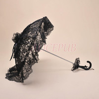 Black Lace Parasol, Lace Wedding Parasol, Lace Bridal Umbrella, Black Lace Umbrella Outdoor Wedding Umbrella Lace Victorian Parasol LSS12E-3