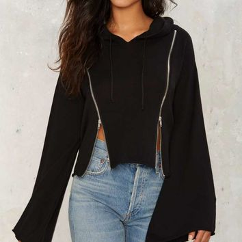 Double Zipping Hooded Sweater - Black