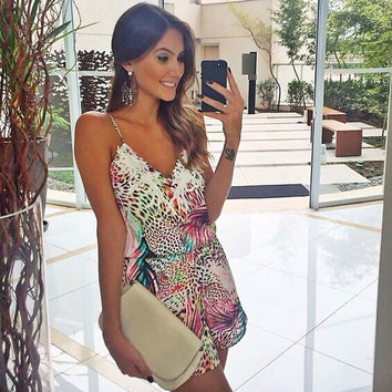 Spaghetti Strap V-Neck Backless Print Short Jumpsuit