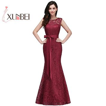 Robe de fille d'honneur Mermaid Burgundy Lace Bridesmaid Dresses 2017 Sexy Back Prom Dress Party Gowns With Sash