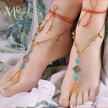Coral Turquoise Howlite Barefoot Sandals