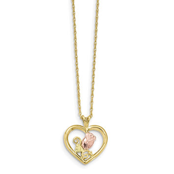 10k Tri-Color Black Hills Gold Rose in Heart Necklace 10BH693