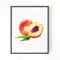 Fruit illustration watercolor painting, Kitchen art, Art for kitchen, Botanical print, Summer decor, Wall hanging, Peach #1 Buy 2 Get 1 Free