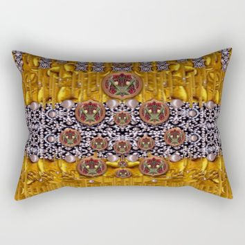 Golden metal and tulips Rectangular Pillow by Pepita Selles
