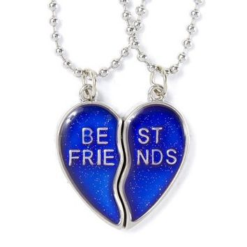 Best Friends Glitter Mood Heart Pendant Necklaces – Claire's