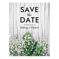 Rustic Floral - Lily of the Valley Save the Date Postcard