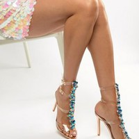 Simmi Lucia rose gold blue stone clear strappy stiletto sandals at asos.com