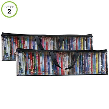 Evelots DVD/BluRay/Video-Storage Bag-NEW MODEL-Clear-Handle-Hold 100 Total-Set/2