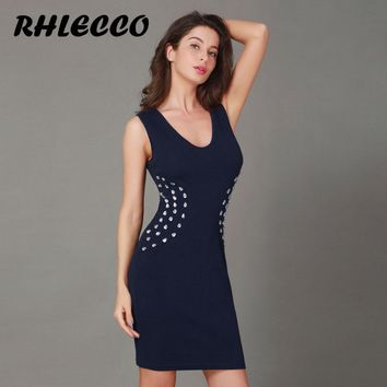 Women Summer Dress 2018 Short Elegant Diamonds Work Dress Office Casual Bodycon Ladies Club Sexy Dress Vintage Female Plus Size