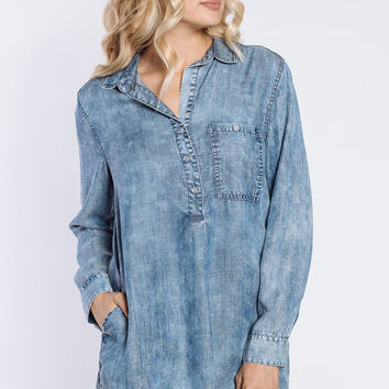 Lois Roll Tab Denim Dress