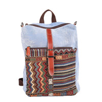 Vintage Women Embroidery Canvas Backpack Zipper Buckle Strap Front Pocket Students Travel Bags Boho Ethnic Backpack SM6