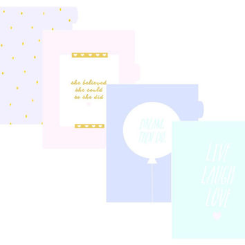 A5 Filofax Kikki.K Planner Divider Sections & Monthly Dividers Printable - Pastel Design