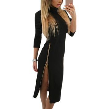 Sexy Bodycon Dress Autumn Winter Women Midi Dresses Solid Long Sleeve Side Split Femme Pencil Tight Zipper Dress GV324