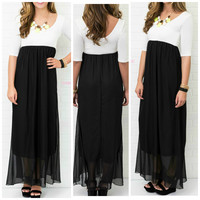 Fancy Affair Quarter Sleeve Black Maxi Dress