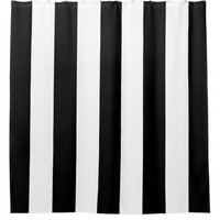 Black and White Vertical Stripes Shower Curtain