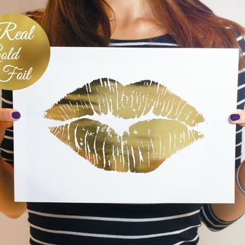 Lips Art Print in Real Gold Foil