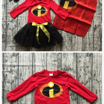 baby girls boy Fall/winter boutique red top t-shirt match skirt cloak cape eye mask children clothes cotton raglans long sleeve