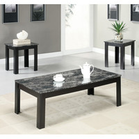 Monarch Specialties I 7843P Black / Grey Marble-Look Top 3 Piece Coffee Table Set