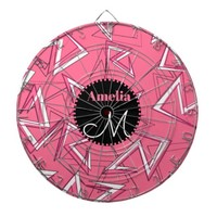 White and Black Zigzags on Pink Dart Board