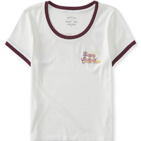 Seriously Soft Happy Camper Crop Baby Tee - Aeropostale